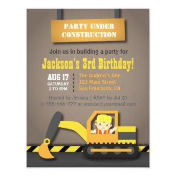 Orange Excavator Construction Theme Birthday Party