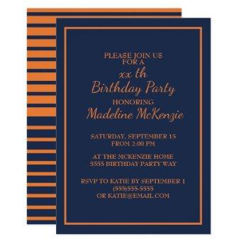 Orange Navy Blue Striped Birthday Party Invite