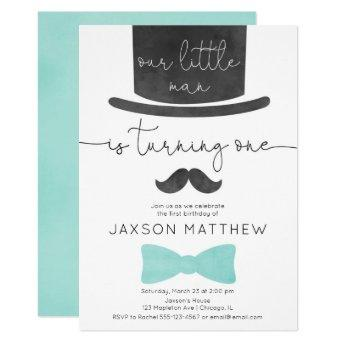 Our little man turquoise aqua boy 1st birthday invitation