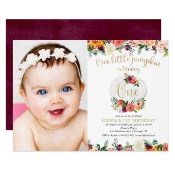 Our little pumpkin fall floral burgundy gold photo invitation