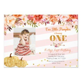 Our Little Pumpkin is turning one Invitation