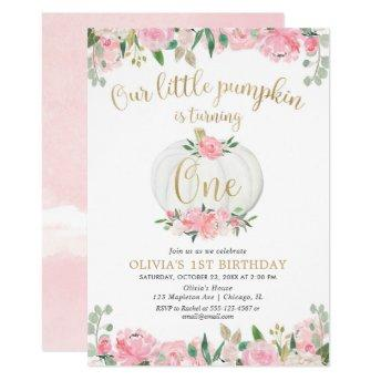 Our little pumpkin pink gold floral 1st birthday invitation