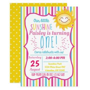 Our Little Sunshine Girls Birthday Party Invite