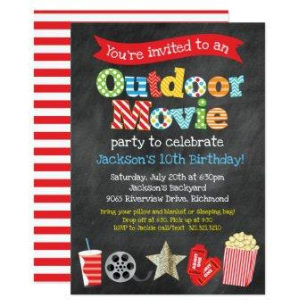 Outdoor Backyard Movie Birthday Party - Chalkboard Invitation