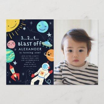 Outer Space Blast Off Birthday Party Photo Invitation