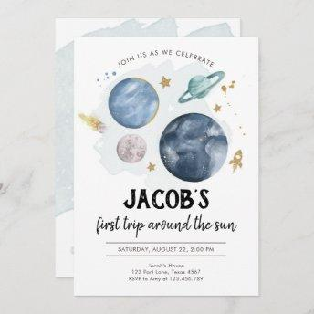 Outer Space Planets Boy First Birthday Invitation
