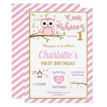Owl 1st Birthday Invitation Girl Pink and Gold