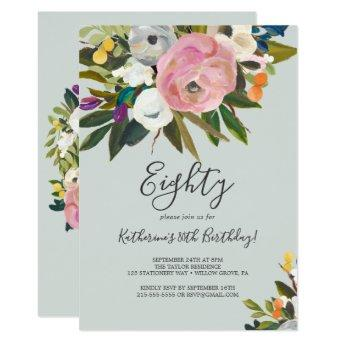 Painted Floral 80th Birthday Invitation