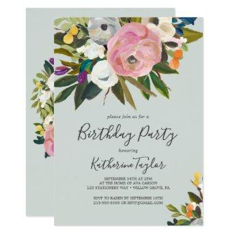 Painted Floral Birthday Party Invitation
