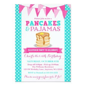 Pancakes and Pajamas Sleepover Pink Teal Birthday