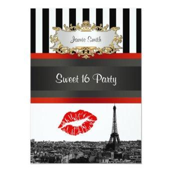 Paris Skyline BW Stripe Red Kiss Sweet 16 Party Invitation