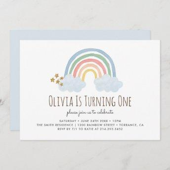 Pastel Pastel Rainbow 1st Birthday Invitation
