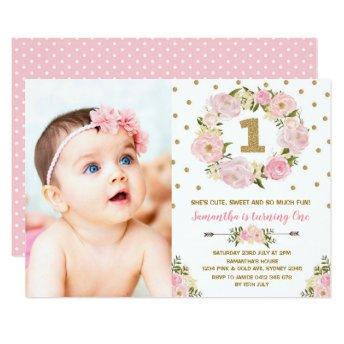 Pastel Pink Gold Floral First 1st Birthday Invite