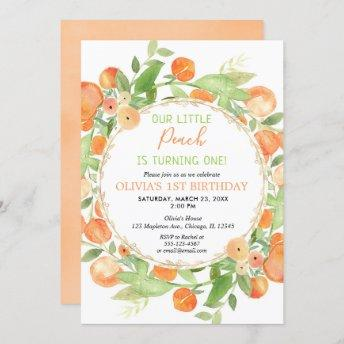 Peach 1st birthday girl Invitation, peaches theme invitation