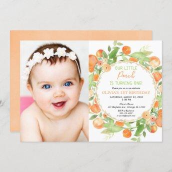 Peach 1st birthday girl, peaches theme photo invitation
