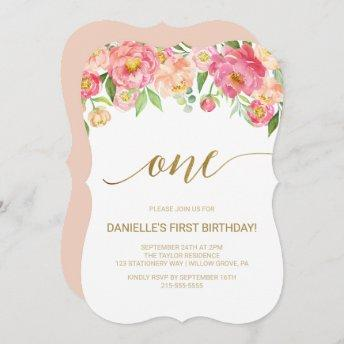 Peach and Pink Peony Flowers First Birthday Party Invitation
