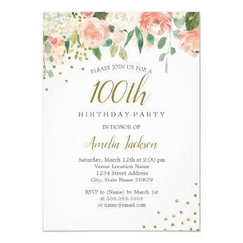 Peach Gold Watercolor Floral 100th Birthday Party