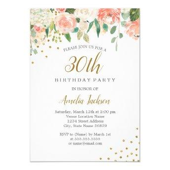 Peach Gold Watercolor Floral 30th Birthday Party