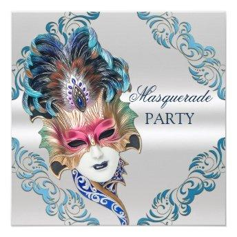 Peacock Feathers Mask Masquerade Party Silver