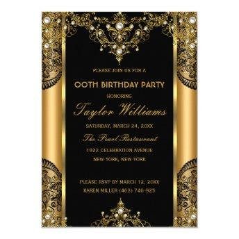 Pearl Lace Gold Black Glamour Birthday Party 2 Invitation