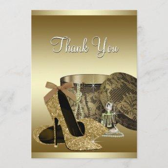 Pearls High Heel Shoes Black Gold Thank You Invitation