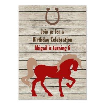 Personalized Red Horse Rustic Wood Birthday Invite