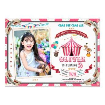Photo Circus birthday invitation Vintage Carnival