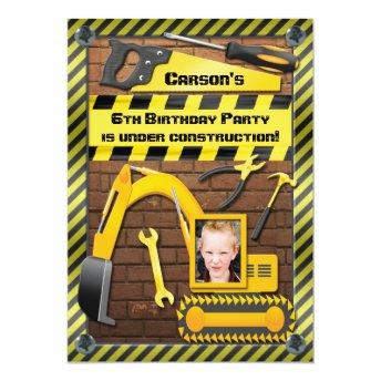 Photo Construction Birthday Party Tools and Digger