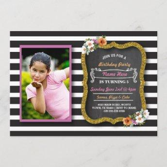 Photo Floral Stripe Flowers Pink Birthday Invite