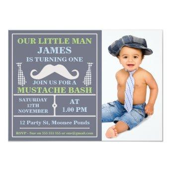 Photo Little Man Mustache Birthday Invitation