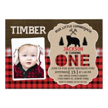 Photo Lumberjack Burlap 1st Birthday
