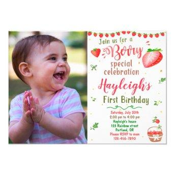 Photo Strawberry birthday invitation Berry sweet