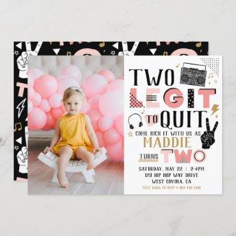 Photo Two Legit to Quit Second Birthday Invitation