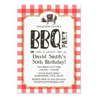 Pig Roast BBQ Birthday Party Red Plaid