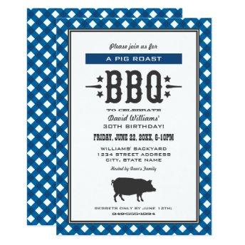 Pig Roast BBQ | Blue Gingham Plaid Birthday Party Invitation