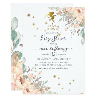 Pink and Gold Fairy themed Girl Baby Shower Invitation