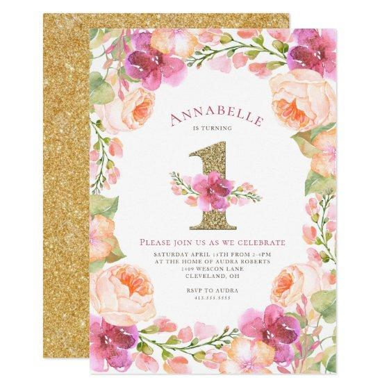 Miraculous Pink And Gold Floral Girls 1St Birthday Party Invitation Funny Birthday Cards Online Inifofree Goldxyz