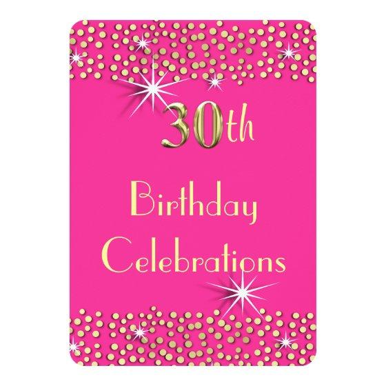 247 Pink And Gold Glitzy Sparkle 30th Birthday Party Invitation