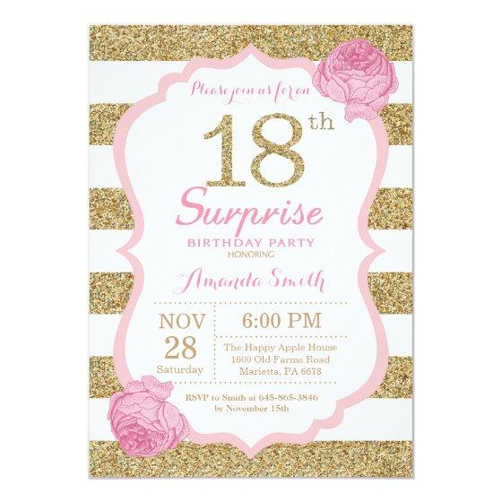 190 Pink And Gold Surprise 18th Birthday Invitation
