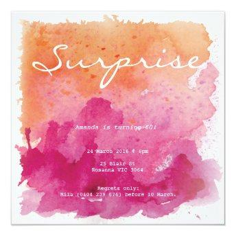 Pink and Orange Watercolour Surprise Birthday