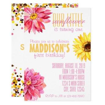 Pink and Yellow Sunflower birthday Invitation