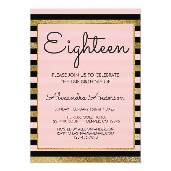 201 Pink Black Gold Foil Stripe 18th Birthday Invitation