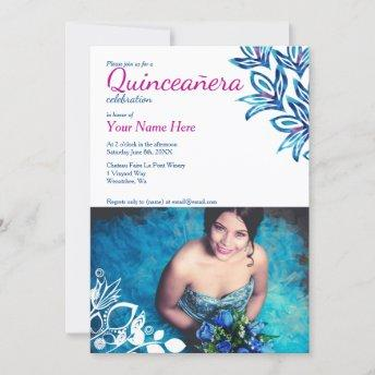 Pink & Blue Quinceañera Photo Invitation