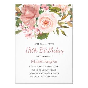 Pink Blush Rose Gold 18th Birthday Party Invite