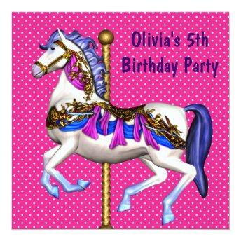 Pink Carousel Pony Girls 5th Birthday Party Invitation