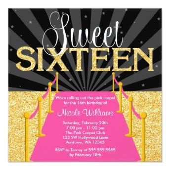 Pink Carpet Gold Glam Hollywood Sweet 16 Birthday