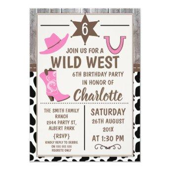 Pink Cowgirl Boots Wild West Birthday Invitation