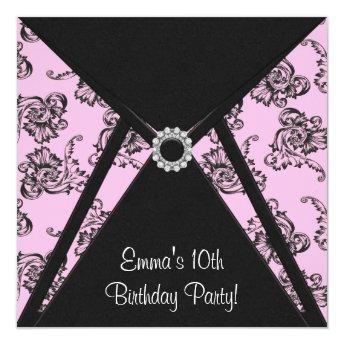 Pink Damask Girls 10th Birthday Party