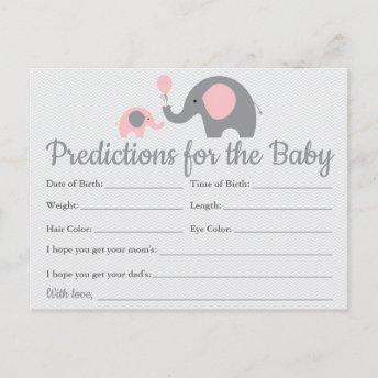 Pink Elephant Baby Predictions Invitation Baby Shower