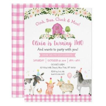 Pink Farm Animal Floral 2nd Birthday Invitation